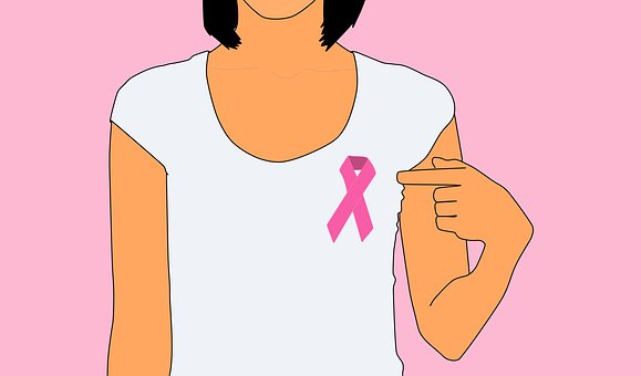 pink ribbon, cartoon